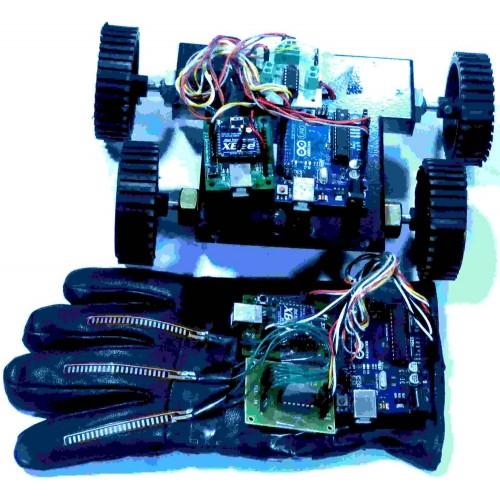 Flex sensor based hand gesture robot using arduino zigbee