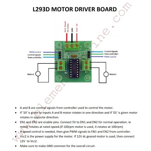 dc motor stepper motor driver board with l293d ic