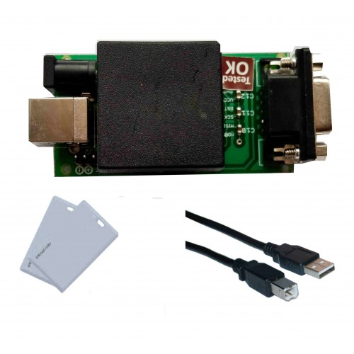 USB RFID CARD READER WITH USB AtoB CABLE AND TWO RFID